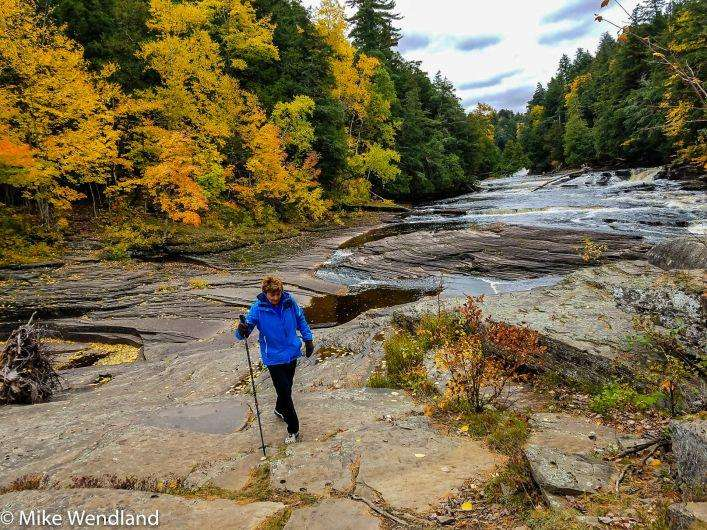 Jennifer hiking the East River rail in the Porcupine Mountains Wilderness State Park