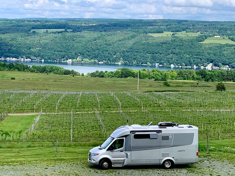 This was our alternate campground campsite at a Harvest Hosts location - the Heron Hill Winery in the Finer Lakes area of New York